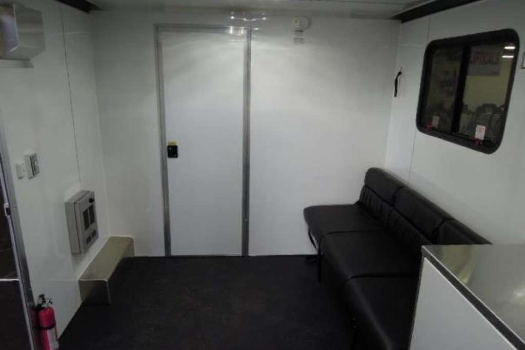 Interior of mobile office trailer